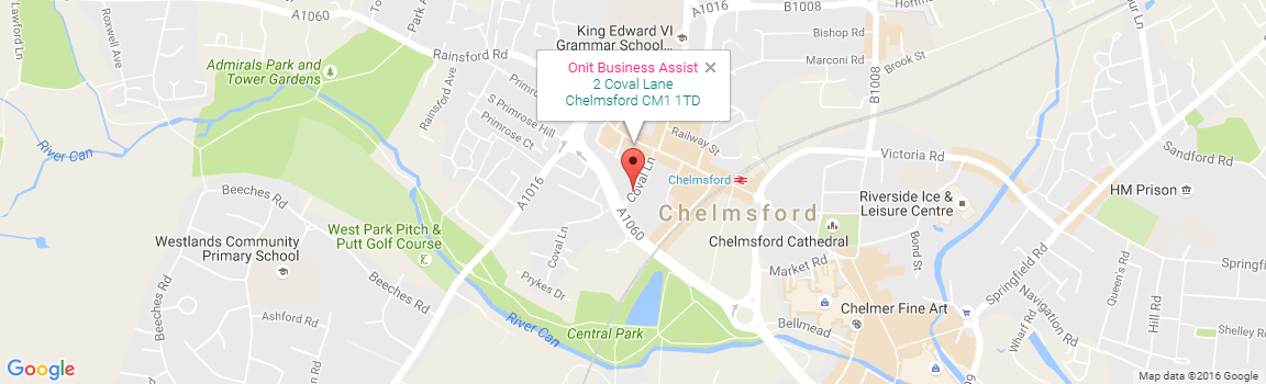 map of Southend showing Onit Business Assist's location
